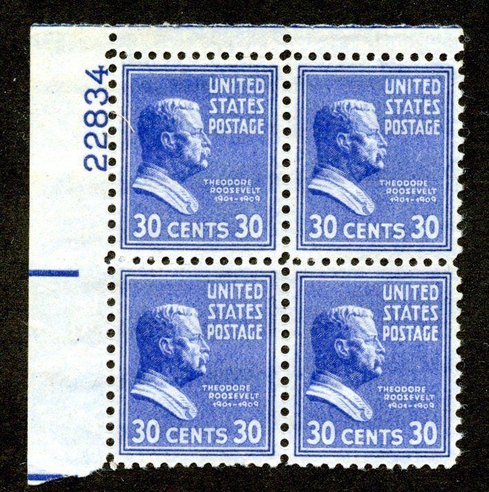 U.S. Scott 830 30-Cent Prexie/Prexy MNH Electric Eye Plate Block