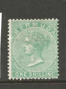 BERMUDA  1865-03  1/- GREEN  QV  MNG  P14  SG 8