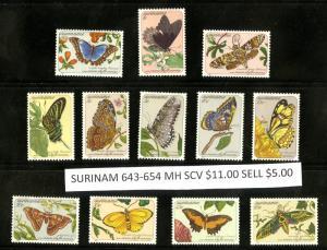 SURINAME 643-654 MH SCV $11.00