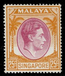 SINGAPORE GVI SG25, 25c purple & orange, M MINT.