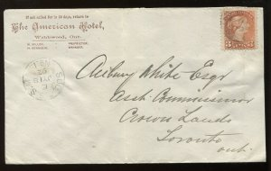 Canada 3 Cent Small Queen on 1892 cacheted Sudbury ON cover to Toronto