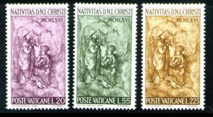 VATICAN Scott 445-7 MNH** 1966 Nativity set CV$.60