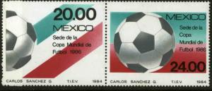 MEXICO 1372-1373 Promotion for 1986 Soccer World Cup pair MINT, NH. VF.