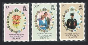 Ascension Charles and Diana Royal Wedding 3v 1981 MNH SG#302-304