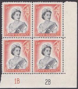 NEW ZEALAND 1953 QE 1/9d plate block 1A2A mint block of 8...................2493