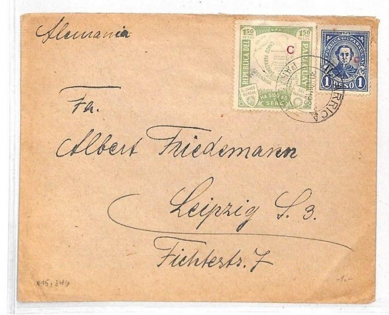 HH80 1934 Paraguay CAMPANA *C* Rural Office Gran Chaco Overprint Cover Leipzig