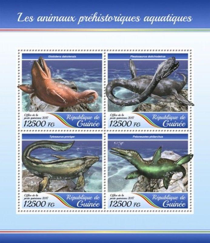 Guinea - 2017 Prehistoric Water Animals - 4 Stamp Sheet - GU17414a