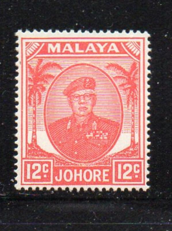 Malaya Johore Sc 139 1952 12c rose red Sultan Ibrahim stamp mint NH