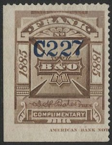 US 1885 Sc 3T5  Unused, brown B & O Telegraph  Co. stamp F-VF