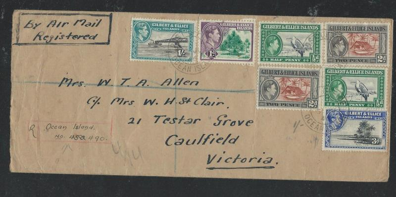 GILBERT AND ELLICE ISLAND  (P0209B) 1946 KGVI 7 STAMP REG A/M COVER TO AUSTRALIA