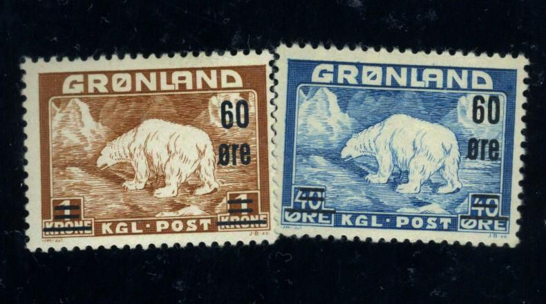 Greenland #39-40 MINT F-VF OG HR Cat$76.50