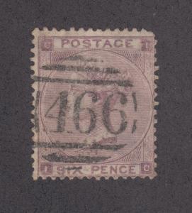 Great Britain Sc 39 used 1862 6p QV, 466 cancel