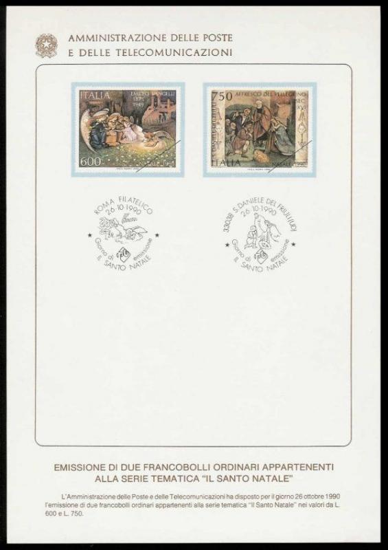 Italy 1990 Christmas Issue Ministry of Posts Bulletin