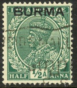 BURMA 1937 KGV 1/2a Portrait Issue Sc 2 VFU