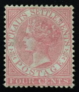 Malaya Straits Settlements 1868 QV 4c wmk CrownCC Mint NG SG#12 M1815