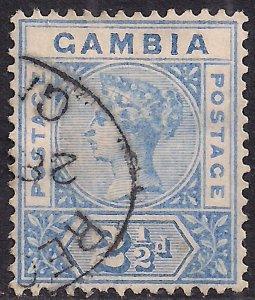 Gambia 1898 - 02 QV 2 1/2d Ultramarine used SG 40 ( E1292 )