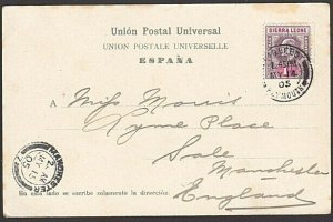 SIERRA LEONE 1905 postcard EVII 1d cancelled PAQUEBOT / PLYMOUTH cds........7644