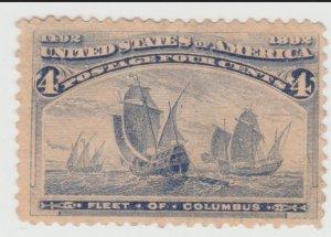 #233 - Unused 1893 Fleet of Columbus 4 Cent Stamp F/VF SCV $55.00