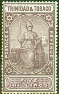 Trinidad & Tobago 1913 5s Dull Purple & Violet SG155c Fine Lightly Mtd Mint