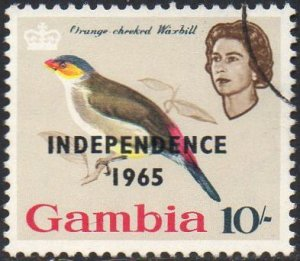 Gambia 1965 10/-  Orange-cheeked waxbill  with 'Independence 1965' ovpt used