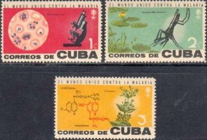 CUBA Sc# 757-759  MALARIA - World Health Organization WHO  Cpl set of 3 1962  MH