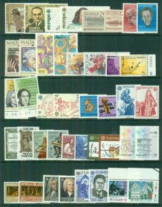 EUROPA Worldwide 1985 sets, 35 diff countries, Complete, og, NH, Scott $142.00