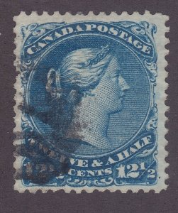 Canada 28 Used 1868 12½ Blue Queen Victoria VF-XF Scv $125.00