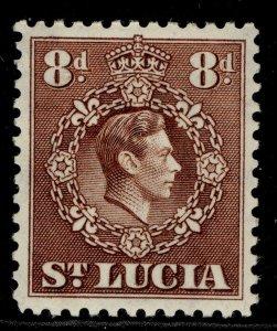 ST. LUCIA GVI SG134c, 8d brown, M MINT.