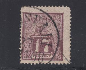 Sweden Sc 14 used. 1866 17ö red violet Lion & Coat of Arms, usual centering