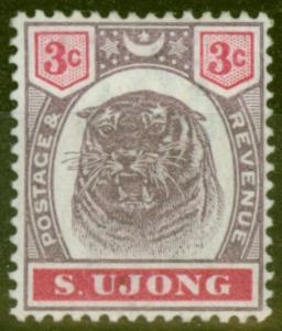 Sungei Ujong 1895 3c Dull Purple & Carmine SG55 Fine Mtd Mint