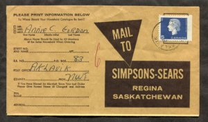 d223 - AKLAVIK NWT 1964 CDS on Simpsons-Sears Cover to Regina