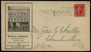 1906 #319 ON ILLUST. ADVT SAMUEL EMMERT, HARDWARE STORE VF COVER BQ2692