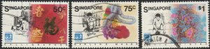Singapore,  #486a-c Used  From 1986