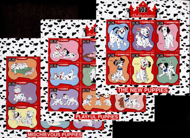 Gambia 1901-9 MNH Disney, Dogs, Puppies, 101 Dalmatians