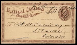 USA ca1876 Colorado Territory Mining Rollinsville Colo Manuscript Cancel C 87998