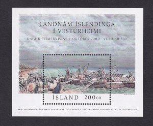 Iceland   #921   MNH  2000  sheet stamp day Icelandic settlers Lake Winnipeg