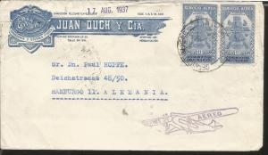 J) 1937 MEXICO, THE AZTEC BIRD MAN,AIRMAIL,  MULTIPLE STAMPS, CIRCULATED COVER,