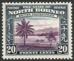 NORTH BORNEO-1939 20c Violet & Slate-Blue Sg 312 MOUNTED MINT V47144