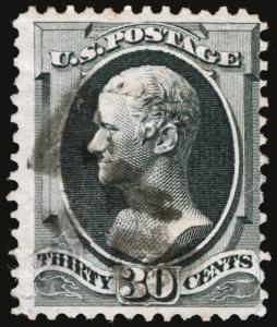 #165 30c Gray Black 1874  F-VF Used Rich Color Segmented Cancel Fresh