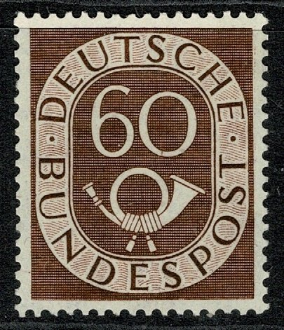 GERMANY 1951-52 60pf RED-BROWN SIGNITURED MINT (NH) SG1057 Wmk.263 P.14 SUPERB