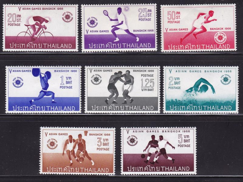 Thailand 1966 5th Asian Games Bangkok Complete (8) Soccer Boxing VF/Mint(*)