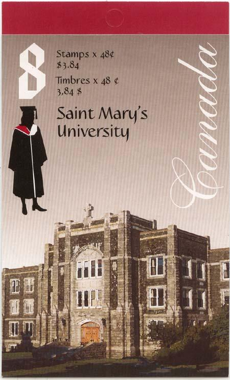 Canada USC #BK258a 2002 Complete Booklet Saint Mary's Univ. Glued Flap - VF-NH