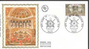 FR197  France 1974   CENTENAIRE DU SENAT SILK FDC $4.00