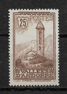 French Andorra 1932, Scott # 30, 25c,VF MNH**OG (FR-1)
