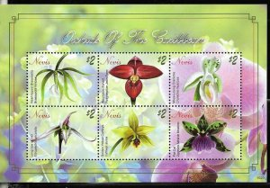 #8174 NEVIS 2010 FLORA FLOWERS ORCHIDS MINISHEET YV 2125-30 MNH