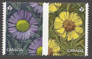 Canada #2978ii mint se-tenant pair die cut, flowers daisies,  issued 2017