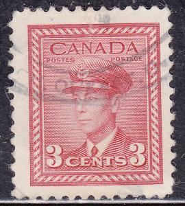Canada 251 USED 1942 King George VI WWII War 3¢
