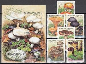 Togo, Scott cat. 1882 O-T. Mushrooms set & s/sheet. ^