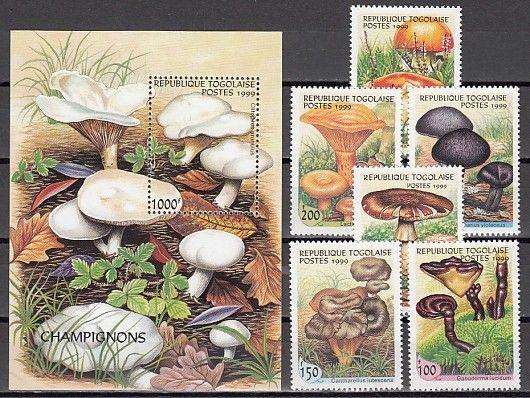Togo, Scott cat. 1882 O-T. Mushrooms set & s/sheet.