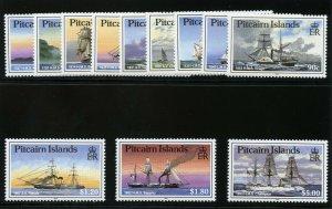 Pitcairn Islands 1988 QEII 'Ships' set complete MNH. SG 315-326. Sc 298-309.